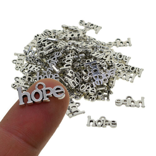 100Pcs HOPE Sahped Charms Pendant Necklace for DIY Jewelry Making Findings