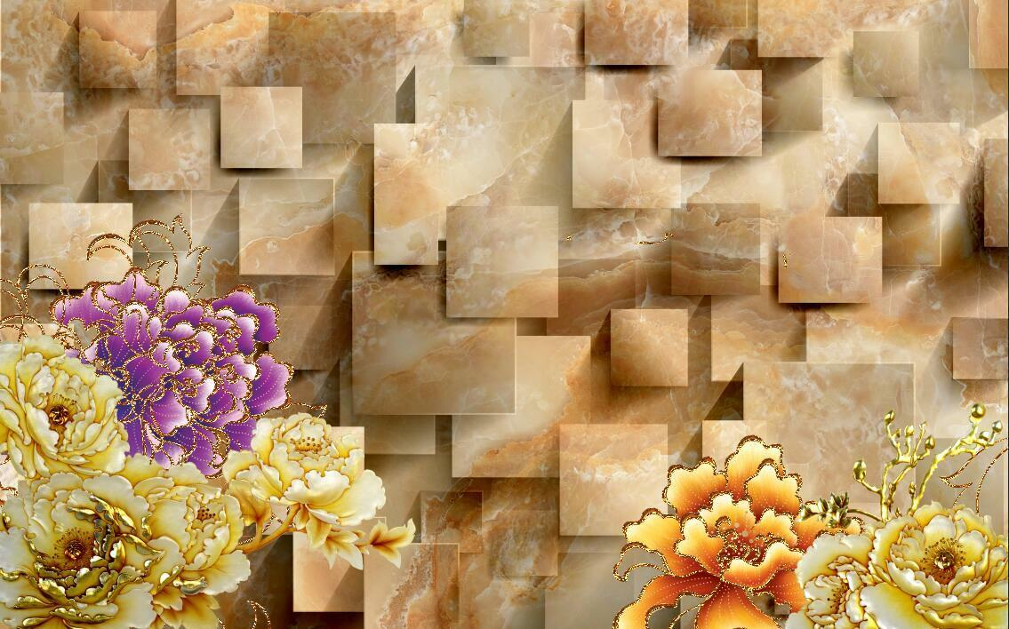 3D Space texture flower bloom Wall Paper Print Decal Wall Deco Indoor wall Mural
