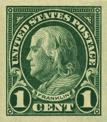 1923 1c Benjamin Franklin, Imperforate Scott 575 Mint F