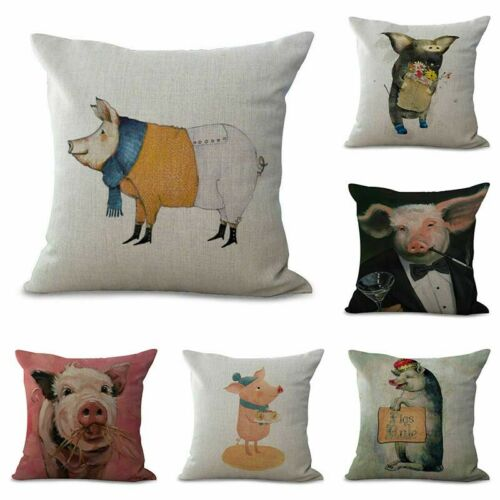 "Sofa Square Waist 18/"" Pig Printed Cotton Linen Throw Pillow Case Cushion Cover"