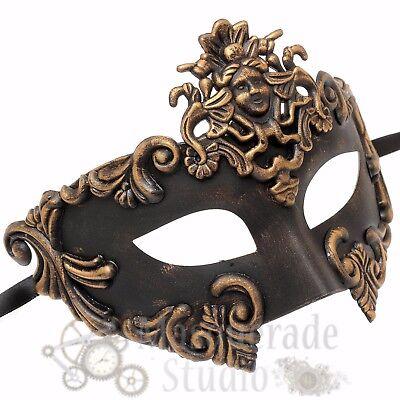 Gold Mens Greek Roman Sun God Warrior Costume Venetian Masquerade Ball Mask