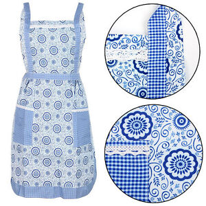 Blue-Floral-Pinny-Lined-Vintage-Pocket-Fancy-Kitchen-Cooking-Apron-Chef-Workwear