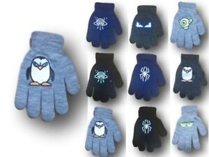 Boys Children Kids Winter Autumn Glow In The Dark Gloves Size 4-5Y, 9-10 Years