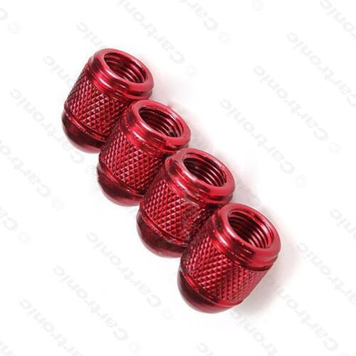 Rosso Metallizzato In lega di metallo Acciaio Valvola Polvere Ruote Pneumatici Tappi DC4 MC17//10