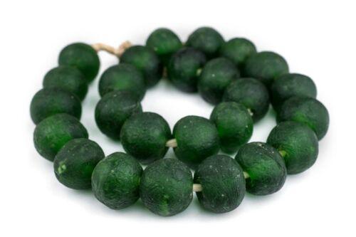 Super Jumbo Green Recycled Glass Beads 35mm Ghana African Sea Glass Round