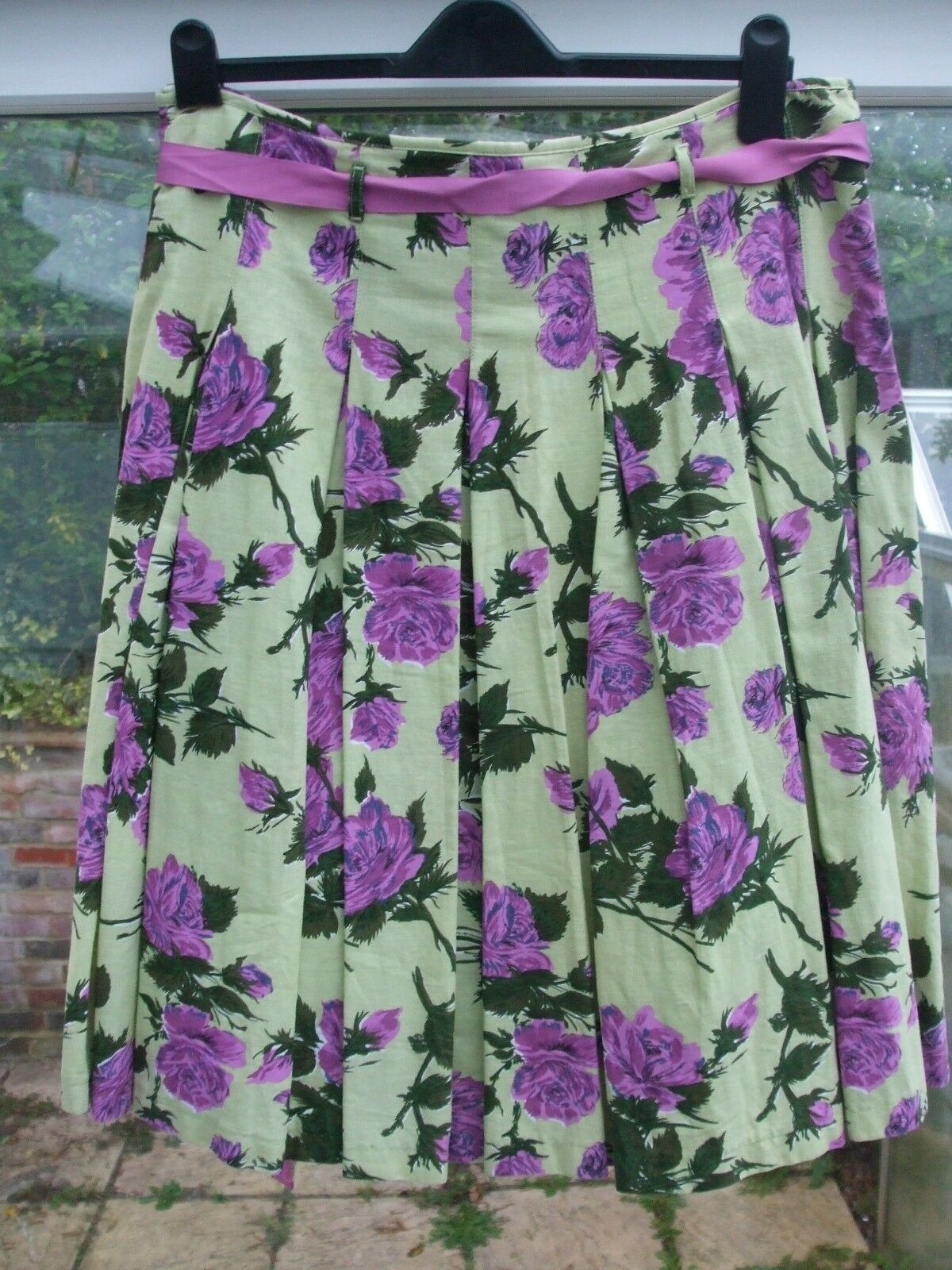 Gorgeous Unusual PHASE EIGHT Green Floral Print Linen Blend  Skirt- 14
