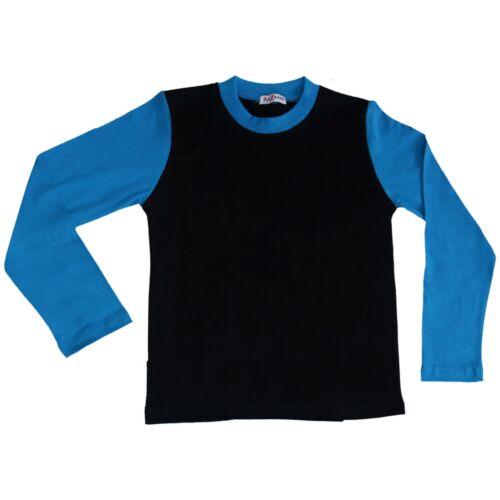 Bambini Ragazzi Pigiama Contrasto Colore Blu Tinta Unita Moda Set Età 2-13 Anni