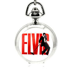 New Silver Elvis King Rock Quartz Mini Pocket Watch Full Hunter Necklace Chain