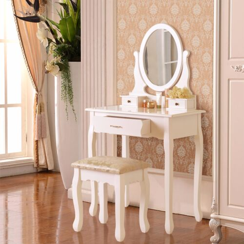Dressing Table Vanity Makeup Desk with Stool 3 Drawers /&Mirror Jewelry Wood
