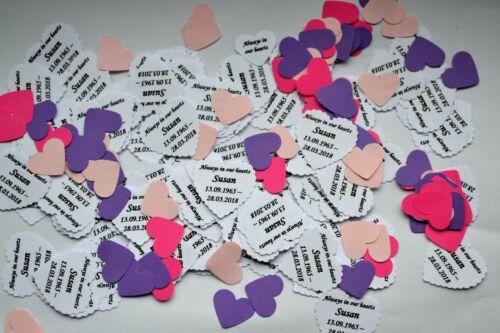 Funérailles bien-aimé Nom et les dates Table Confettis souvenir Crémation Condoléances