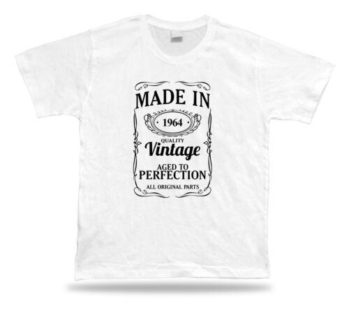 Printed T Shirt Tee-shirt made in 1964 Joyeux Anniversaire Cadeau Idée Cadeau Unisexe