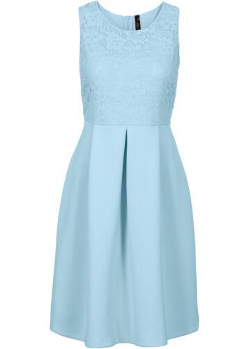 Stilvolles Kleid mit Spitze in Hellblau Gr 32 // 34 Q5920-976415
