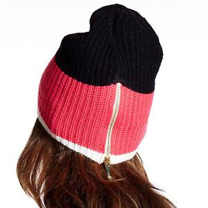 KATE SPADE NEW YORK Rib Knit Zip Back Black Pink Grey Beanie Hat - Choose