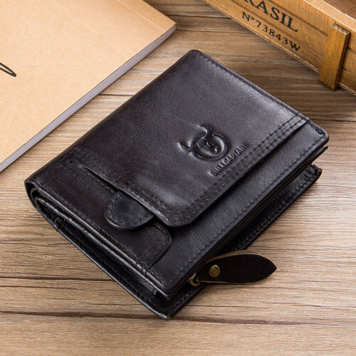 BULL CAPTAIN Mens Leather Short Buckle Retro Leisure Multifunctional Coin Wallet