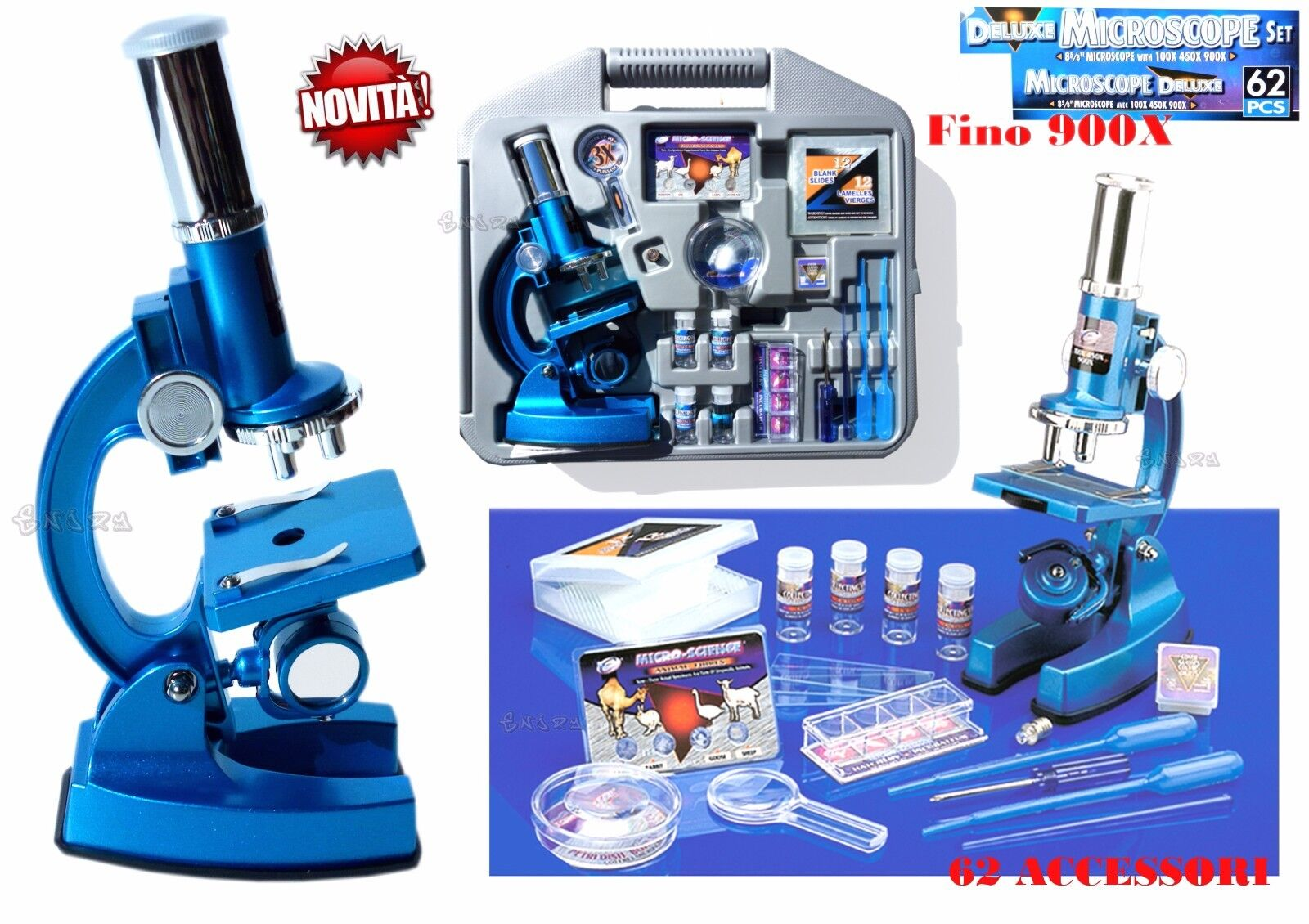 Microscope Scienza ragazzi up to 900X National Monoscope Nature 60 accessories