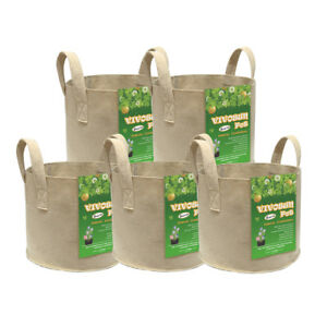 VIVOSUN-5-Packs-Tan-Fabric-Plant-Pots-Grow-Bags-w-Handles-3-5-7-10-15-Gallon