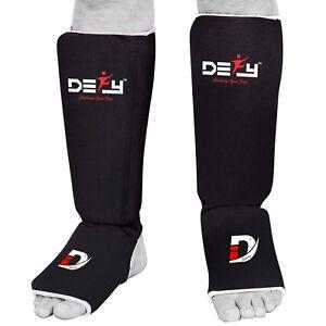 DEFY-Shin-Instep-Foam-Padded-Shin-Guard-Shin-Support-MMA-Foot-Protector-Black