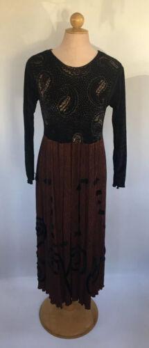Vintage Staley Gretzinger Dress Black Velvet Paisl