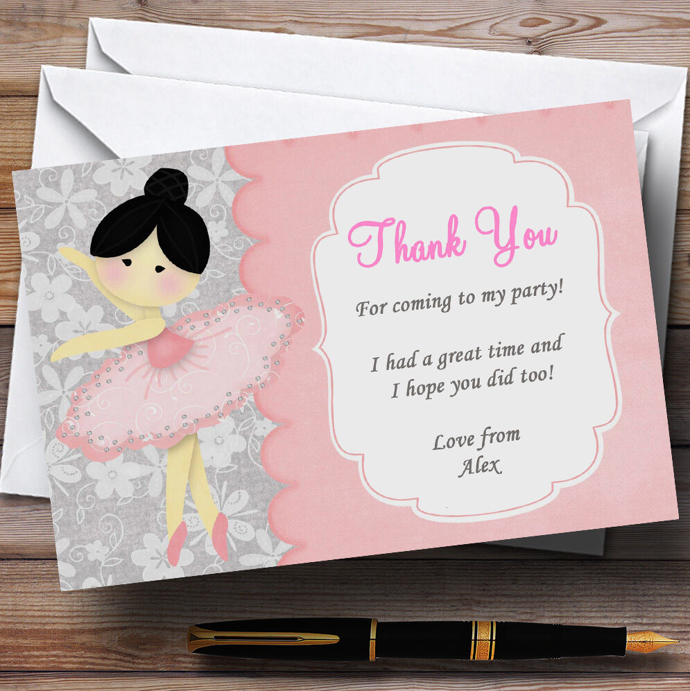 Beautiful Ballerina Ballet Personalised Birthday Party Thank You Cards