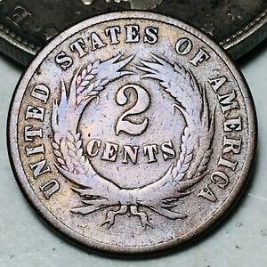 1869 Two Cent Piece 2C Ungraded Civil War Era Good Date US Copper Coin CC6246