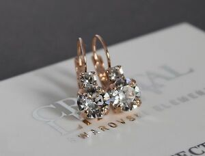 Rose-Gold-Plated-Clear-Leverback-Earrings-made-with-Swarovski-Crystal-Element