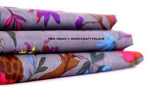 Indian-Hand-Grey-Bird-Print-Dressmaking-Cotton-Fabric-Craft-Sewing-By-5-10-Yard