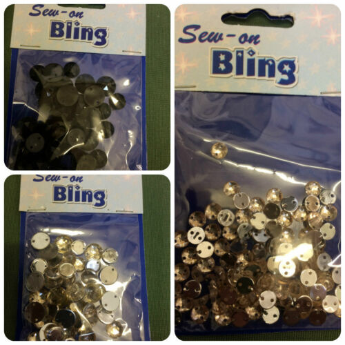 Sew On Bling Round Diamante 25 by 8 mm  20 by 10 mm per packet