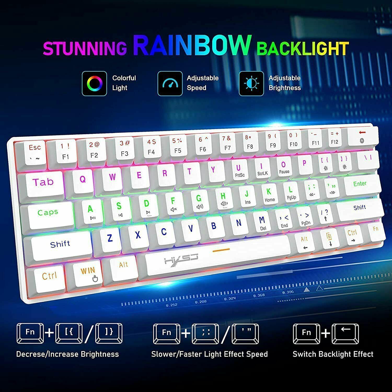 61 Keys 60% Mechanical Gaming Keyboard, Type-C USB Wired Rainbow LED Backlit PS4