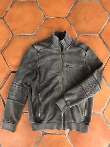 Mens-Kenneth-Cole-New-York-Motorcycle-Moto-Style-Zip-Front-Sweat-Shirt-Hoodie-XS
