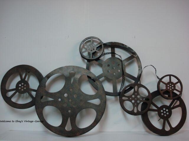 *METAL DECOR* Large Cinema Theater Movie Reels Home Wall Art Plaque Ribbon Film