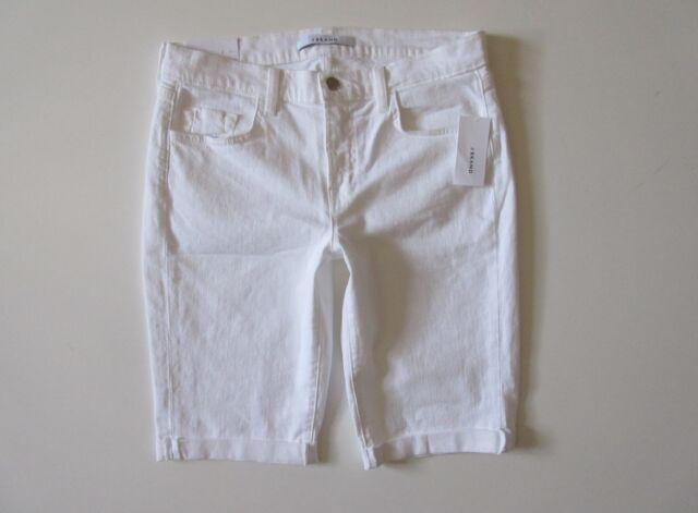 e6608407388 NWT J Brand Beau Short in White Tie Rolled Hem Stretch Jean Bermuda Shorts  28