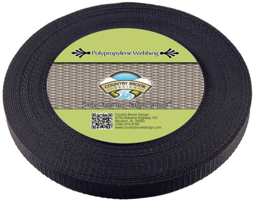 Country Brook Design® 5//8 Inch Black Heavy Polypro Webbing 10 Yards