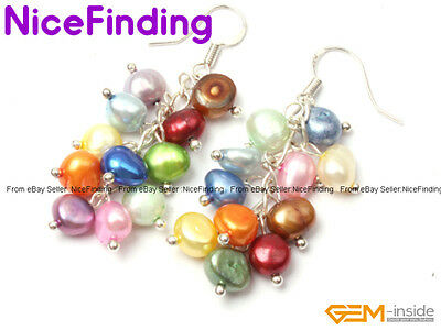 5-6mm Multi Color Natural Pearl Link Cluster Hook Earrings Silver Plated Present