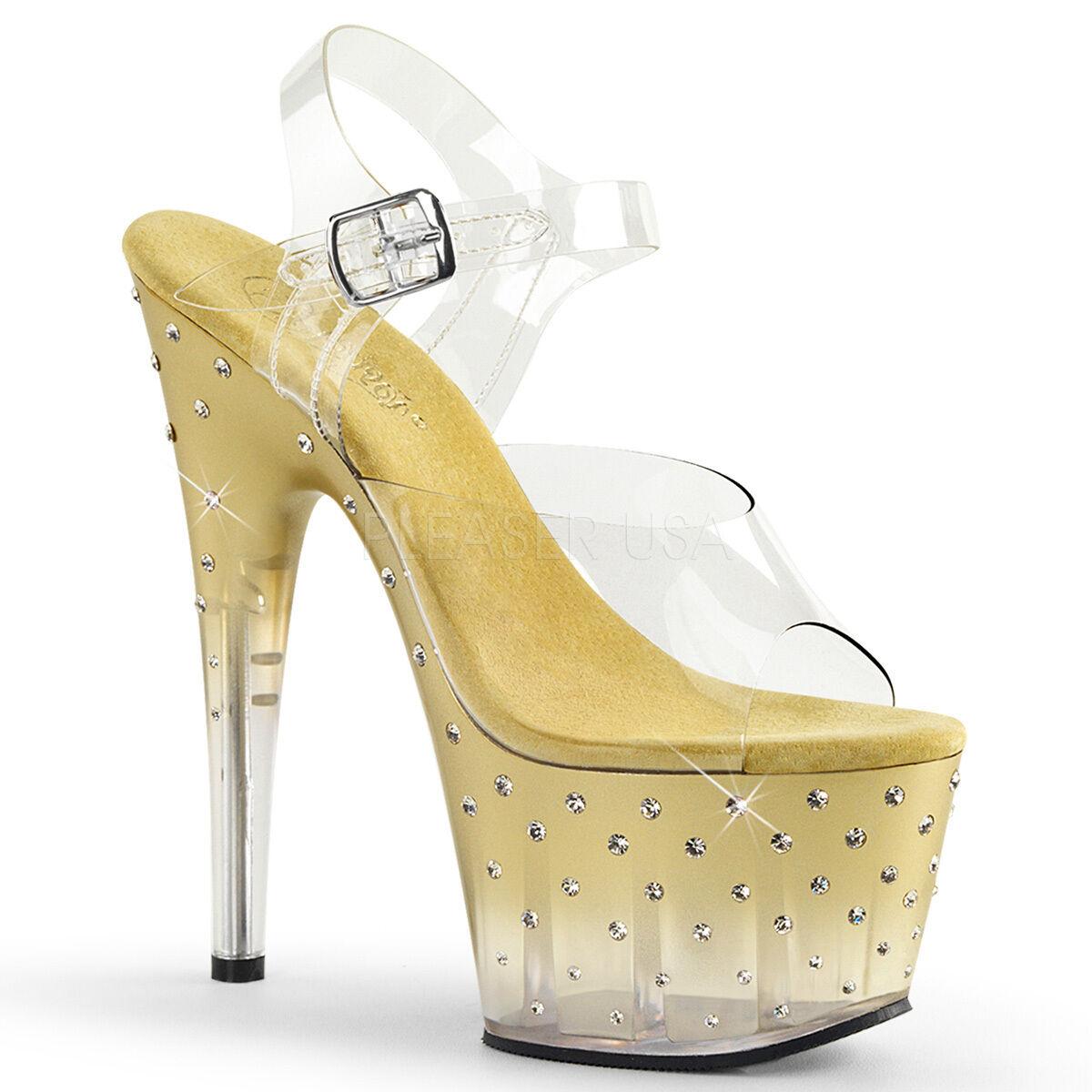 PLEASER Sexy Stripper Dancer 7  Heel Rhinestone Studded Platform gold shoes