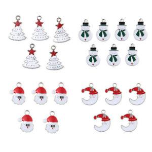 XMS-Enamel-Charm-Christmas-Tree-Snowman-Santa-Claus-Moon-Beads-Pendant-10pcs