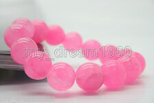 Beautiful 12mm Natural Pink Jade Jadeit Round Beads Gemstone Stretch Bracelet