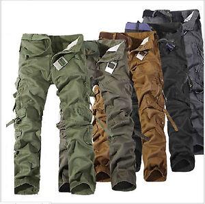 Korean-Casual-Military-Cargo-Pants-Men-039-s-Multi-pocket-Chic-Trousers-Trend-Pants