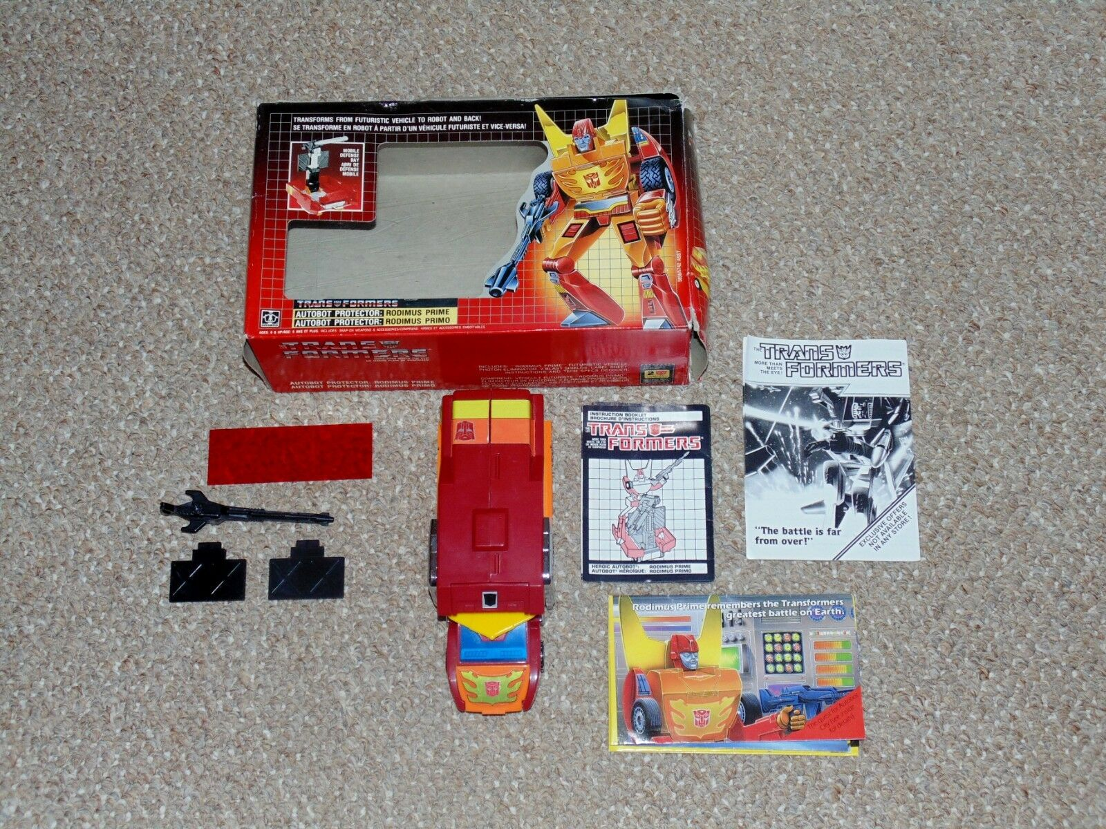 Vintage 1986 G1 Transformers Rodimus Prime Complete Figure with Box Canadian