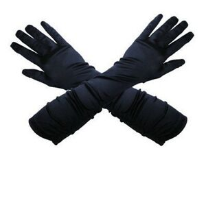 Ladies Satin Lycra Gloves Black White Red Color Size 6-12
