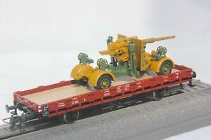 Roco-Minitanks-857-HO-Gauge-Heavy-duty-4-wheel-flat-wagon-with-Flak-gun