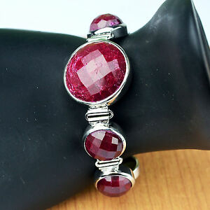 Ruby-Gemstone-bracelet-925-Sterling-silver-8-034-Jewelry-36-52g-women-jewelry