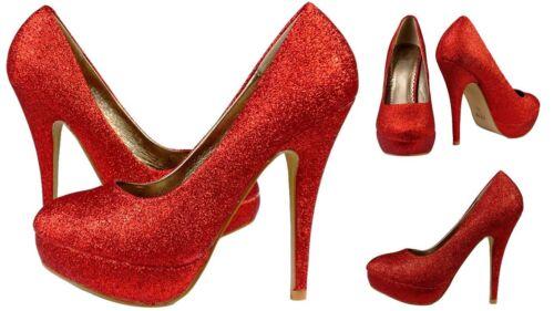 argenttaille 35-41 Femmes Escarpins plateforme talons hauts avec paillettesor rouge