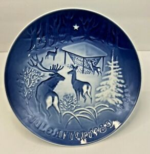 """Bing Grondahl Blue & White 1980 Jule After 7"""" Plate Christmas in The Woods w/box"""
