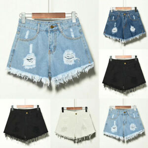 Women-Summer-High-Waist-Ripped-Denim-Shorts-Jeans-Hot-Pants-Retro-Plus-Size-6-22