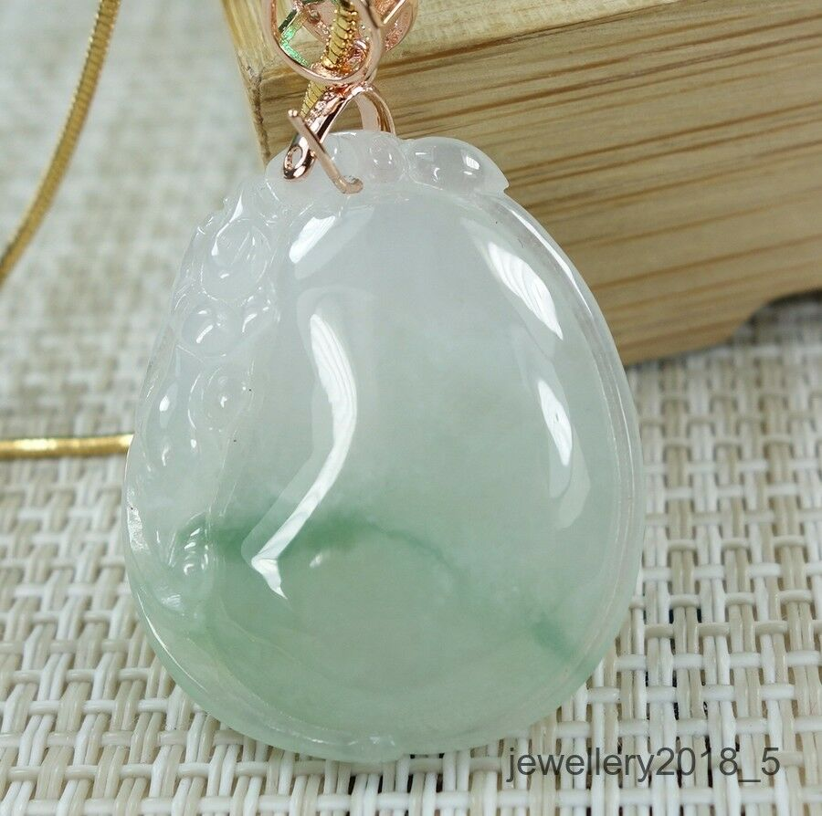 Certified Icy Light green 100% Natural A jadeite Jade PendantFu Melon+PiXiu