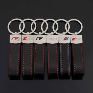 Genuine-Leather-Keychain-for-Audi-Key-Chain-Sline-Keyring-VW-RS-BMW-Mercedes-AMG