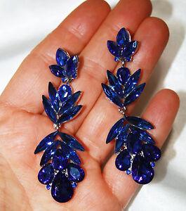 Austrian-Crystal-Chandelier-Earrings-Rhinestone-2-9-in-Blue-Pageant-Jewelry