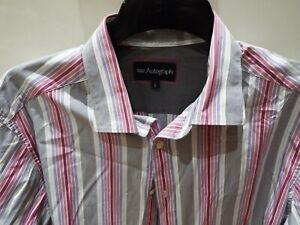 Autograph-Shirt-Muliti-Coloured-Striped-Size-16-Double-Cuff-100-Cotton