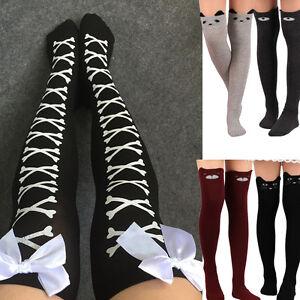 92a83e41e4d Womens Cat Catoon Boot Socks Long Socks Over Knee Thigh High Sock ...
