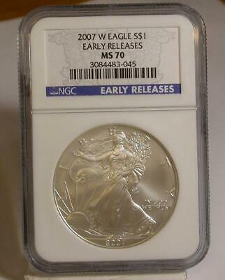 2007 W $1 1oz Silver Eagle Early Releases MS70 NGC